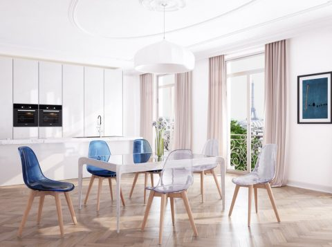 salon moderne chaises scandinaves transparentes